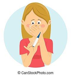 女, 衝撃を与えられた, 心配した, 妊娠, 結果, テスト