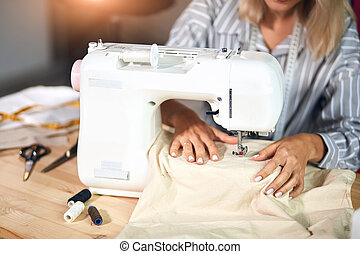 女, 衣服, ワイシャツ, 作成, チェックされた