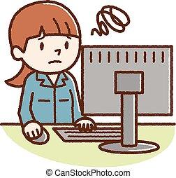 女, 見なさい, 個人的, 若い, コンピュータ, 悩まされている