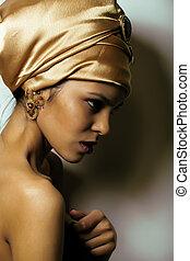 女, 見なさい, 美しさ, 非常に, ショール, の上, 優雅である, mulatto, アフリカ, 終わり, 金,...
