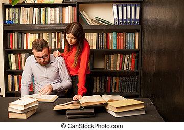 女, 試験, 読まれた, 図書館, 本, 準備, 人