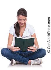 女, &, 読む, 本, 座る, 偶然