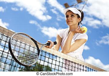 女, 調子, カラフルである, テニス, 若い, 自然, 遊び