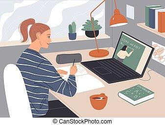 女, 講義, スクリーン, ラップトップ, 監視 ビデオ