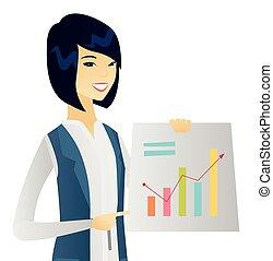 女, 財政, ビジネス, 提示, 若い, チャート, アジア人