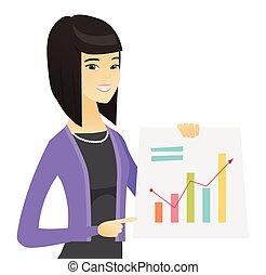 女, 財政, ビジネス, 提示, chart., アジア人