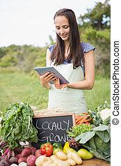 女, 販売, 有機体である, 野菜, ∥において∥