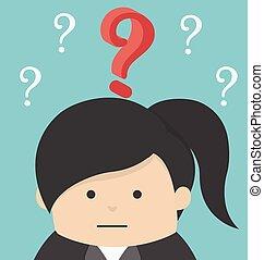 女, 質問, ビジネス