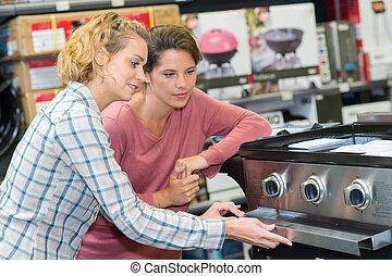 女, 購入, smily, オーブン, ハイパーマーケット