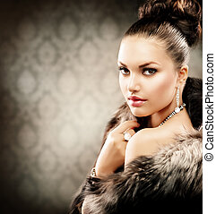 女, 贅沢, コート, 美しい, 毛皮