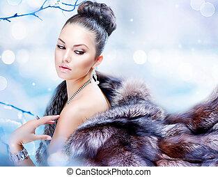 女, 贅沢, 冬の コート, 毛皮