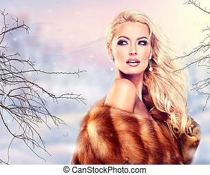 女, 贅沢, 冬, coat., 毛皮