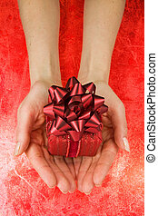 女, 贈り物, 手