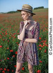 女, 赤, フィールド, フィールド, 花, ブロンド, 流行, 帽子, 美しい