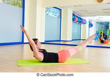 女, 足, 伸張, ダブル, 試し, pilates, 練習