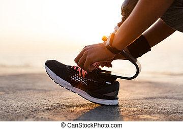 女, 足, 運動選手, の上, 人工装具である, 不具, 終わり
