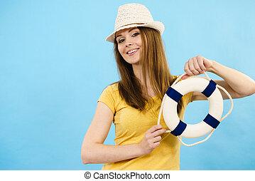 女, 身に着けていること, サン帽子, 成人, 若い