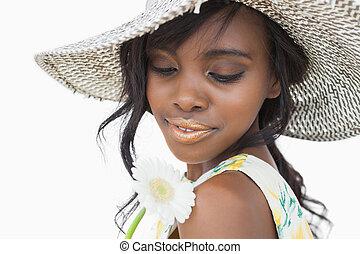 女, 身に着けていること, 夏の 帽子, そして, 保有物, 白い花
