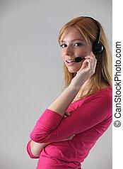 女, 身に着けていること, 電話, ヘッドホン
