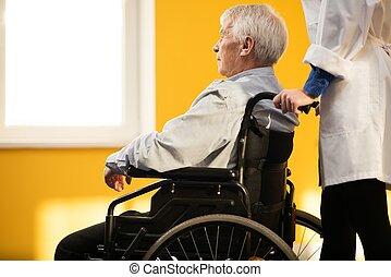 女, 車椅子, r, シニア, 看護婦, 人