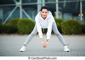女, 通り。, 伸張, 体, 練習