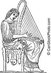 女, 遊び, engraving., ハープ, 型