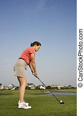 女, 遊び, golf.