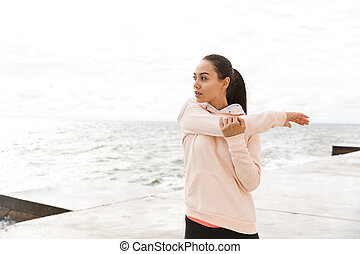 女, 運動, 若い, 確信した, アジア人, フィットネス