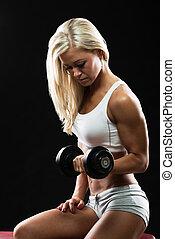 女, 運動, 試し, 若い, フィットネス, dumbbell