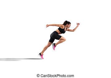 女, 運動, 隔離された, ランナー, 背景, 白