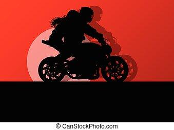 女, 運転手, ベクトル, オートバイ, 背景, パフォーマンス, スタントマン, 極点