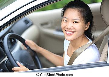 女, 運転, 自動車, 運転手, 若い, アジア人