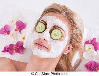 女, 適用, マスク, 顔, 美顔術, cosmetician