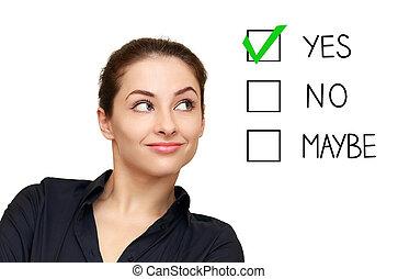 女, 選択, ビジネス決定, 隔離された, 見る, 背景, はい, 白, 選り抜き