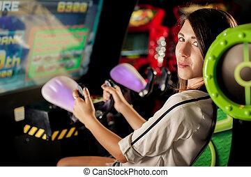 女, 部屋, 若い, ゲーム, 楽しい時を 過しなさい