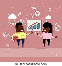 女, 金融, ビジネス, グラフ, 提示, チャート, アメリカ人, アフリカ, レポート, 人