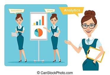 女, 金融, ビジネス, 利益, グラフ, poses., セット, 成長, 特徴, 女の子, 計算する, speaks...