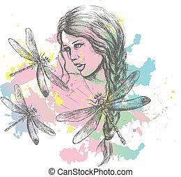 女, 鉛筆, 芸術, はね返し