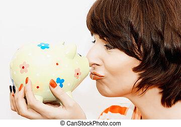 女, 銀行, 装飾用である, 小豚, 面白い, 若い