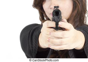 女, 銃, 手