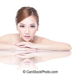 女, 鏡, 反射, 美しさ, 顔