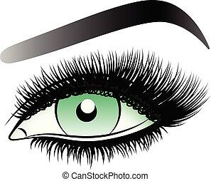 女, 長い間, eyebrows., 緑目, 激しく打つ, 虚偽である