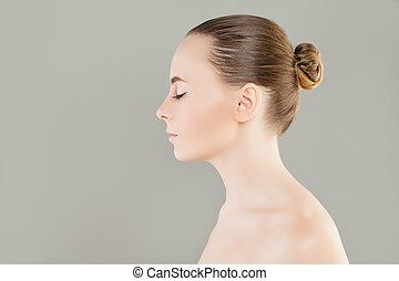 女, 閉じられた, 健康, 美しさ, 美容術, 若い, プロフィール, skin., 概念, 待遇, 美顔術, エステ, eyes., モデル
