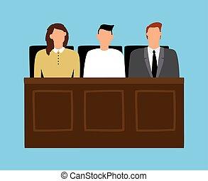 女, 陪審, モデル, trial., 法廷, 人