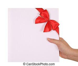 女, 隔離された, リボン, 手, 紙カード, 背景, 白い赤