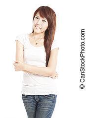 女, 隔離された, 若い, アジア人, 微笑, 白