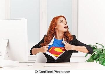 女, 離れて, オフィス, 彼女, モデル, 女性実業家, 取得, clothes., ユニフォーム, 下に, スーパーマン, ショー, 極度, 衣服