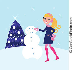 女, 雪だるま, 建物, 冬, クリスマス