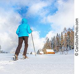 女, 雪, ゆとり, snowshoes, 若い, 動くこと