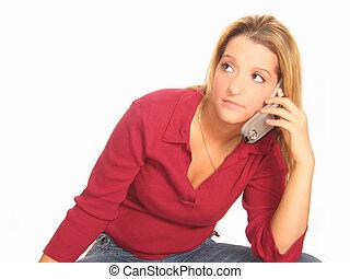 女, 電話